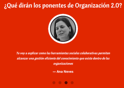 Ana Neves presents at Organización 2.0 in Spain