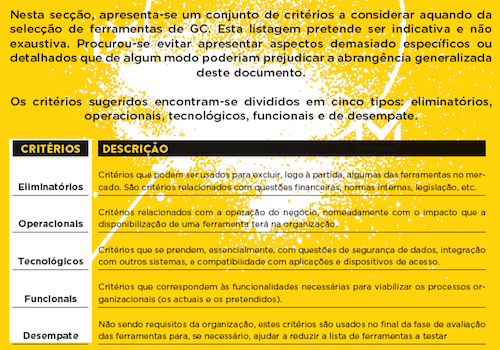 Categories used in the documento to group the proposed criteria