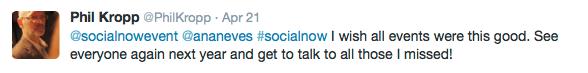 Social Now 2015 - Feedback do Phil Kropp no Twitter