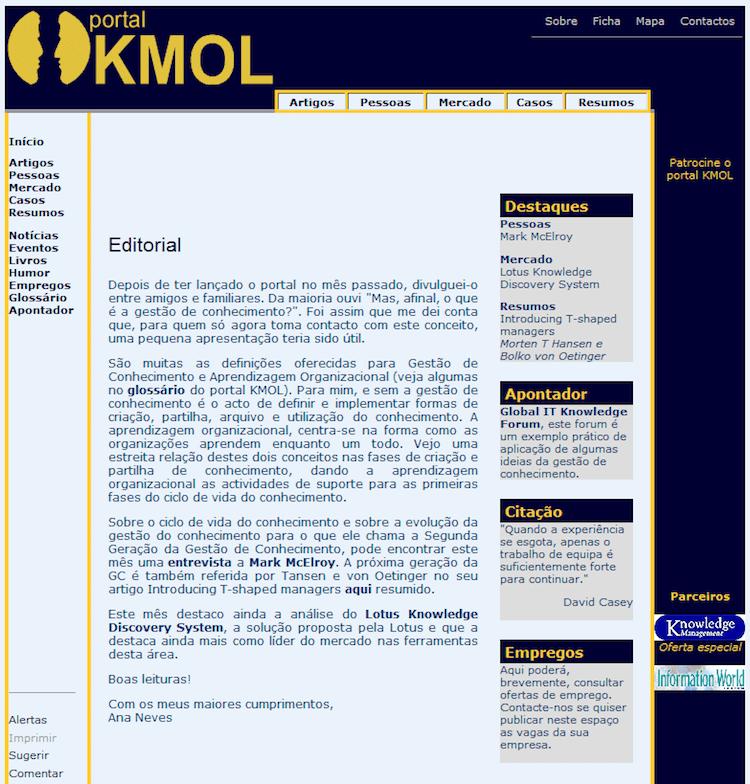 Página inicial do KMOL em 2001