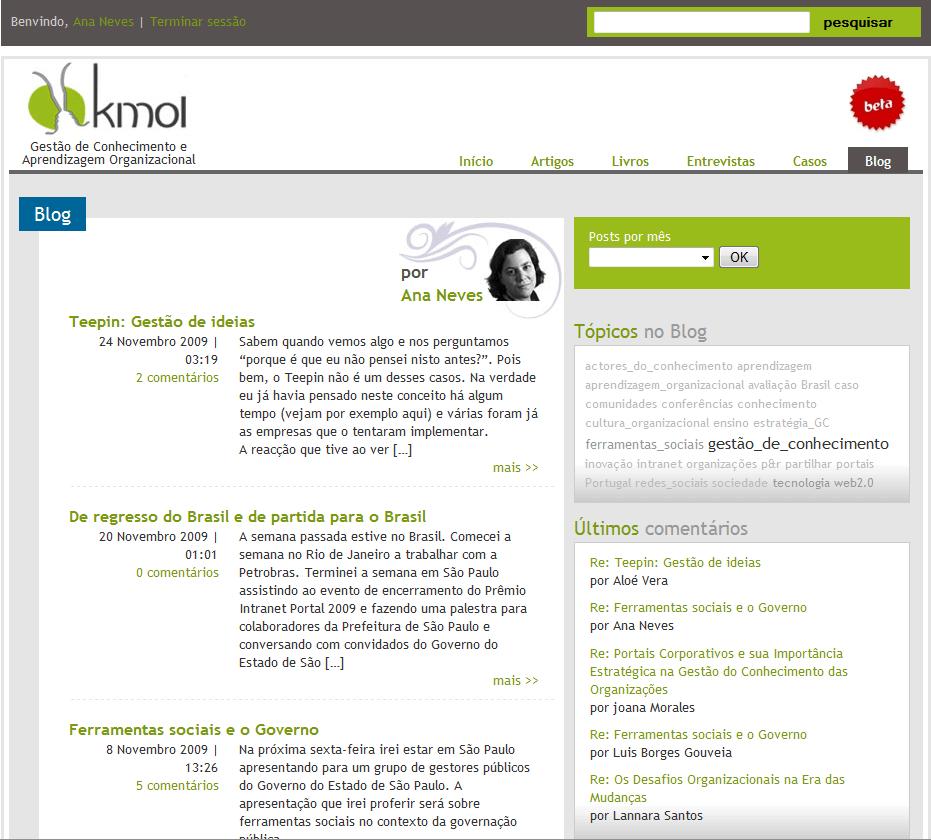 Página inicial do portal KMOL em 2009
